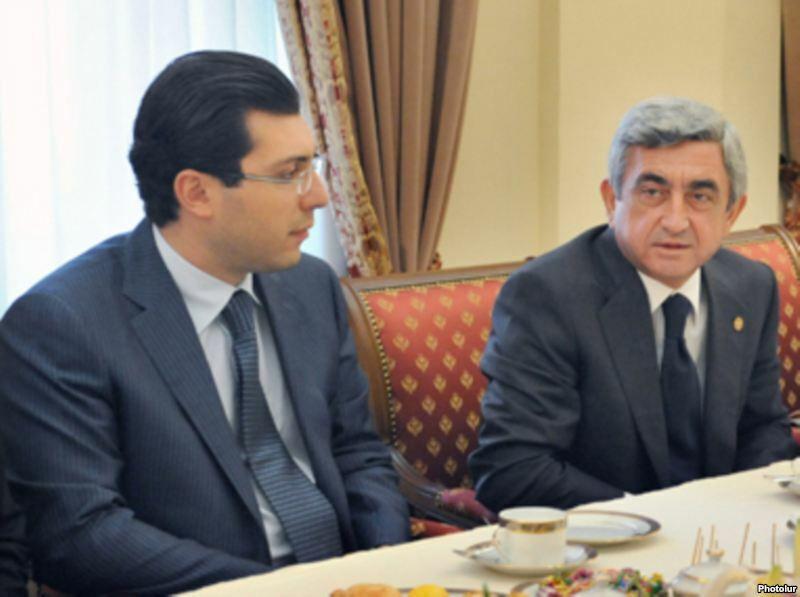 Armenia - President Serzh Sarkisian and his son-in-law Mikael Minasian.