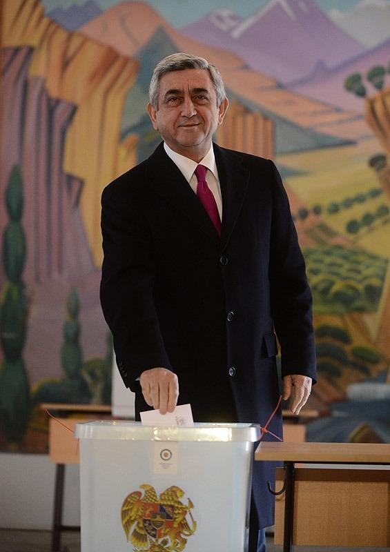 Armenia --- President Serzh Sarkissian votes in February 18 presidential elections, Yerevan, 18Feb2013