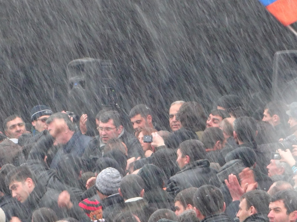 Armenia - Opposition leader Raffi Hovannisian is greeted by supporters in Gyumri's Theatre Square, 23Feb2013 | via Tzitzernak