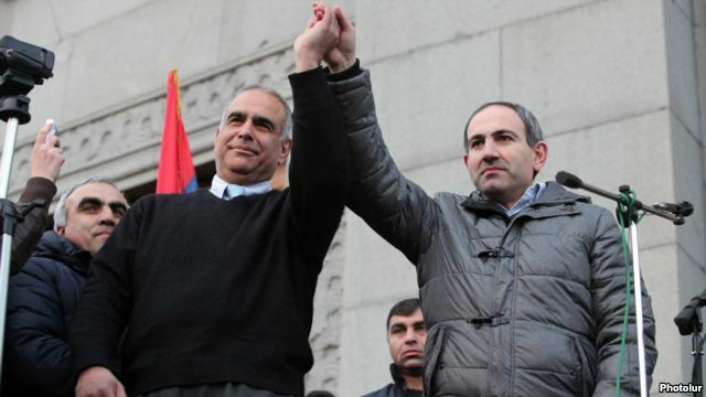 Armenia - Opposition leaders Raffi Hovannisian (L) and Nikol Pashinian greet protesters in Yerevan's Liberty Square, 20Feb2013.