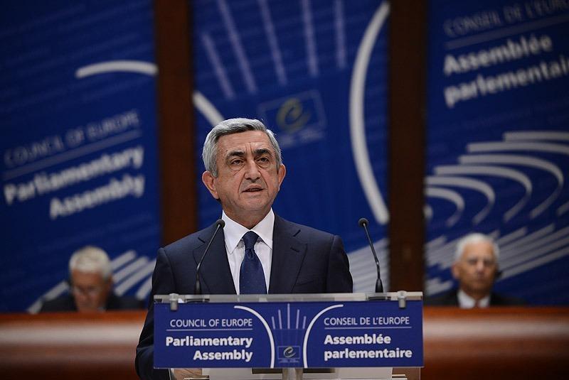 France -- Armenian President Serzh Sargsyan addresses the plenary session of PACE, Strasbourg, 02Oct2013