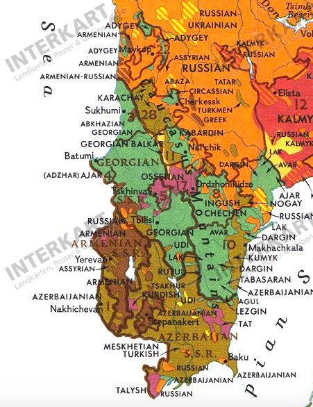 Cropped map showing Armenian's in the 1976 National Geographic map